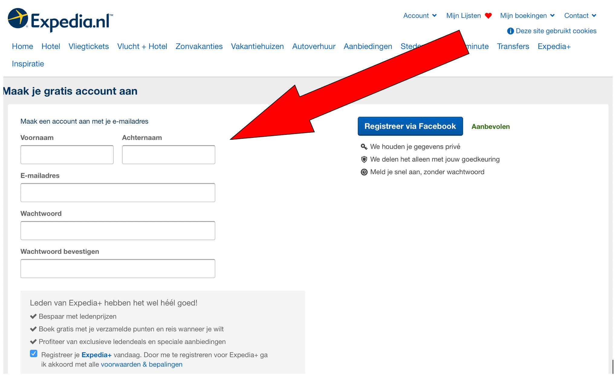 Expedia aanmelden
