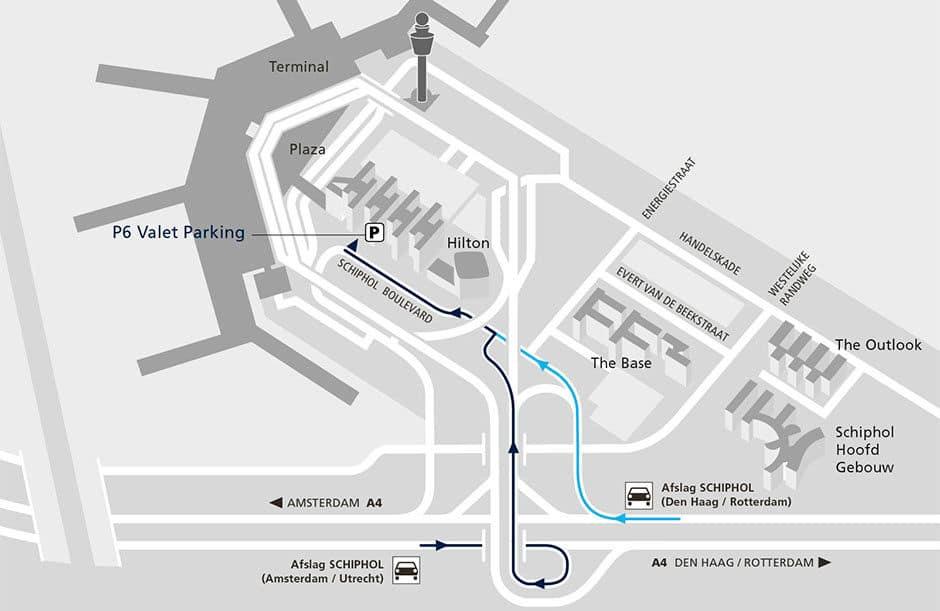 locatie valet parking Schiphol